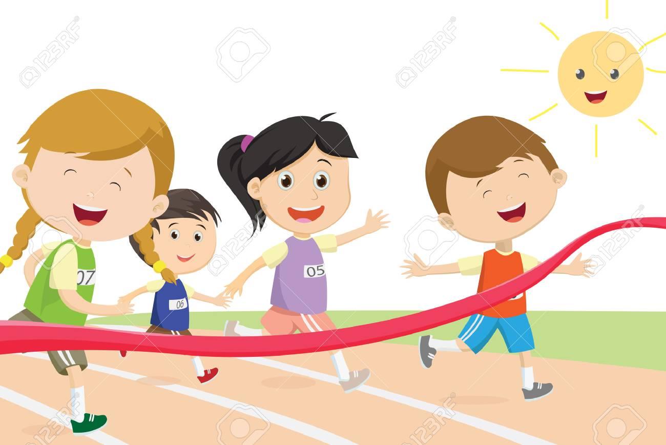 93524113-sprinter-de-niños-felices-llegando-primero-a-la-meta